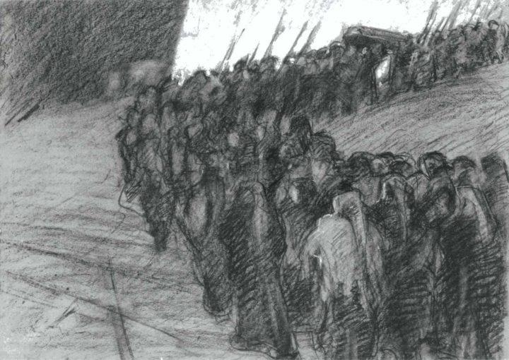 Il funerale tragico - Carboncino su carta - 40x52 - 1913 Firenze
