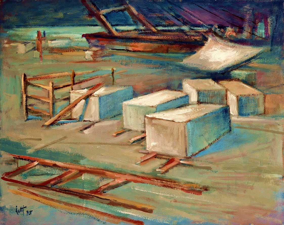 Lavori sul molo - oio - 40x50 - 1975